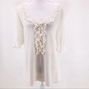 Lane Bryant White Ruffle Knit Blouse Top 18/20